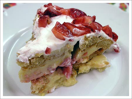 layered Italian Zuccotta strawberry pie